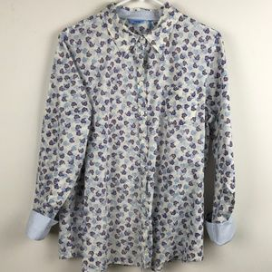 IZOD FLORAL BUTTON DOWN BLOUSE TURNED CUFFS